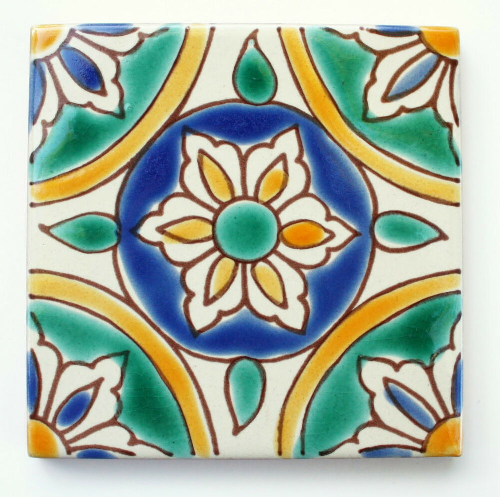 Mediterranean spanish ceramic tiles granada 4x 4 ebay for Spanish clay tile