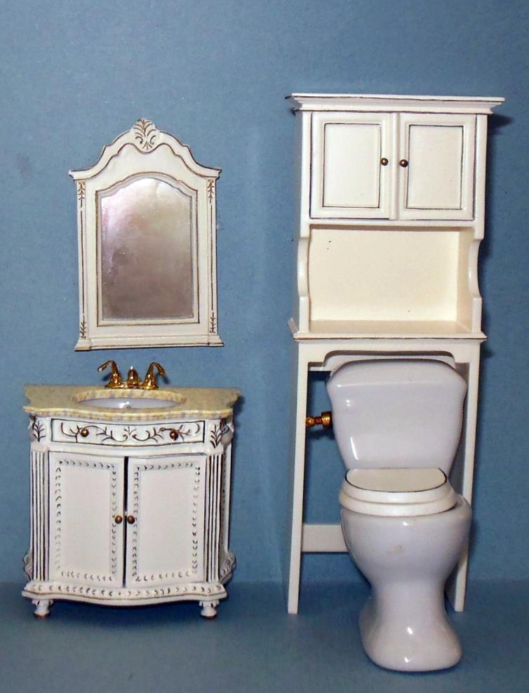 hand painted 4 piece bathroom set dollhouse miniatures ebay