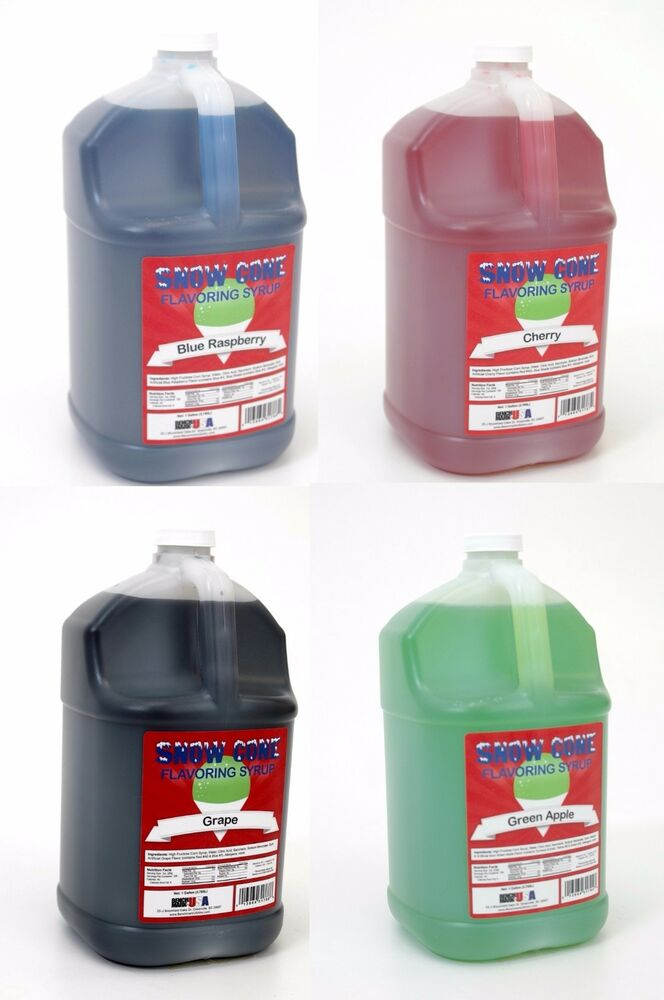 Snow Cone Syrup 4 One Gallon Jugs For Snow Cone Machine