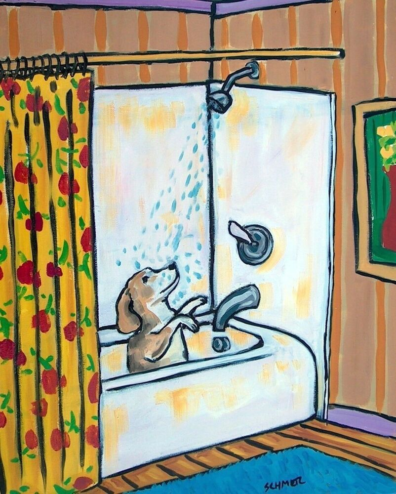 Beagle Shower Bathroom 8x10 Signed Art PRINT Animals