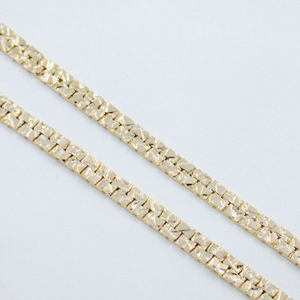 20 24k gold ep double track nugget chain necklace ebay. Black Bedroom Furniture Sets. Home Design Ideas