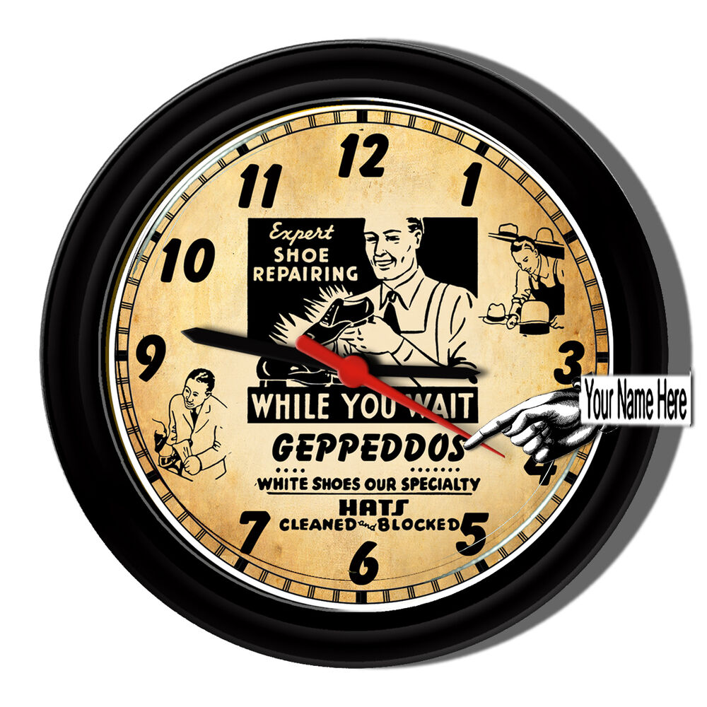 shoe store repair salesman personalized sign wall clock ebay. Black Bedroom Furniture Sets. Home Design Ideas