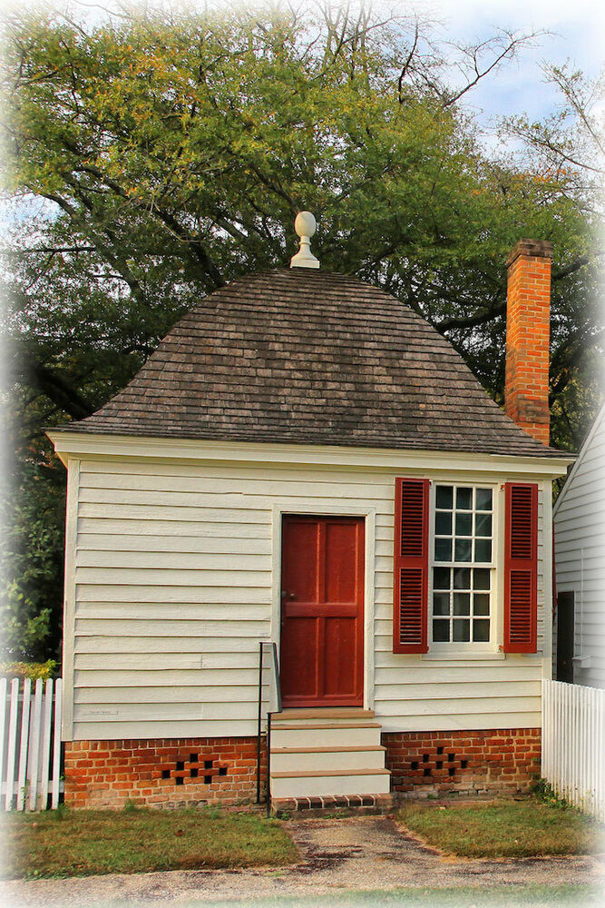 Williamsburg colonial brick cottage detailed plans ebay for Brick colonial house plans
