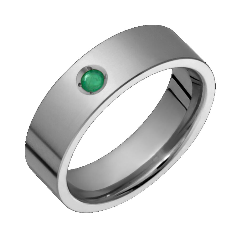 Titanium Emerald Ring Comfort Fit 6mm Wide Engagement Band Free Size 4 To 12