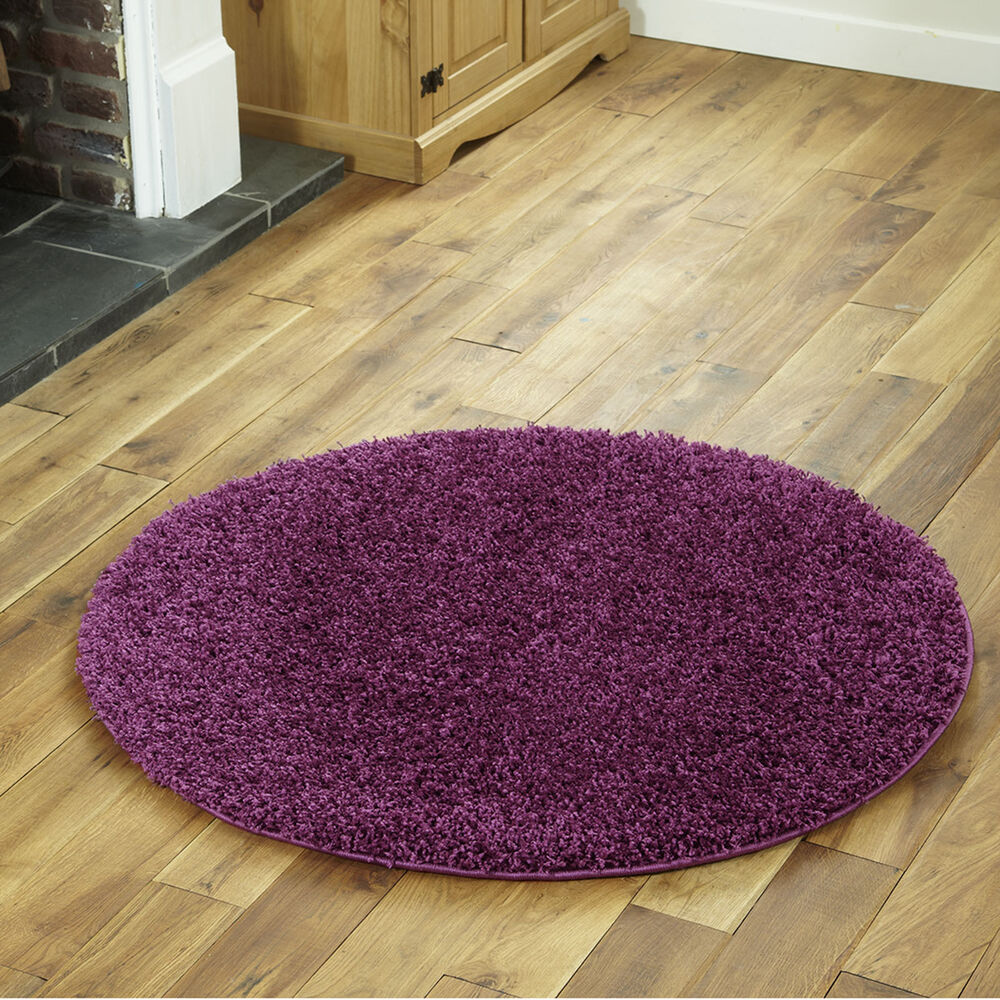 New Purple Contemporary Shaggy Round Circle 110cm Rug Ebay
