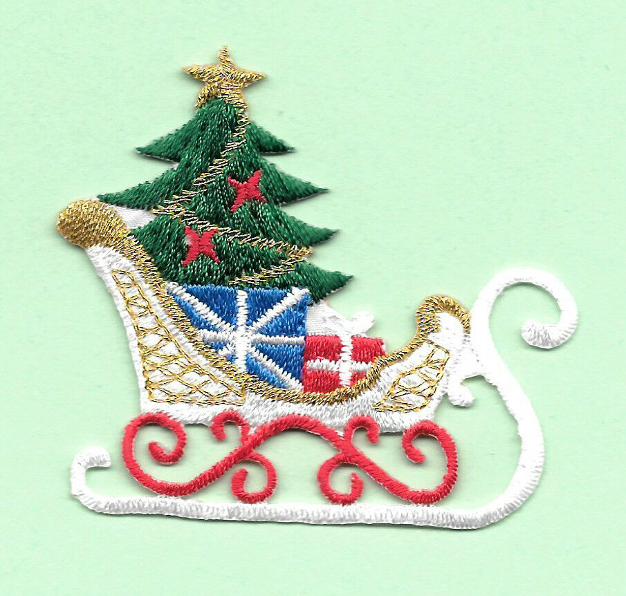 Christmas - Christmas Sleigh - Sled - Embroidered Iron On Applique Patch | EBay