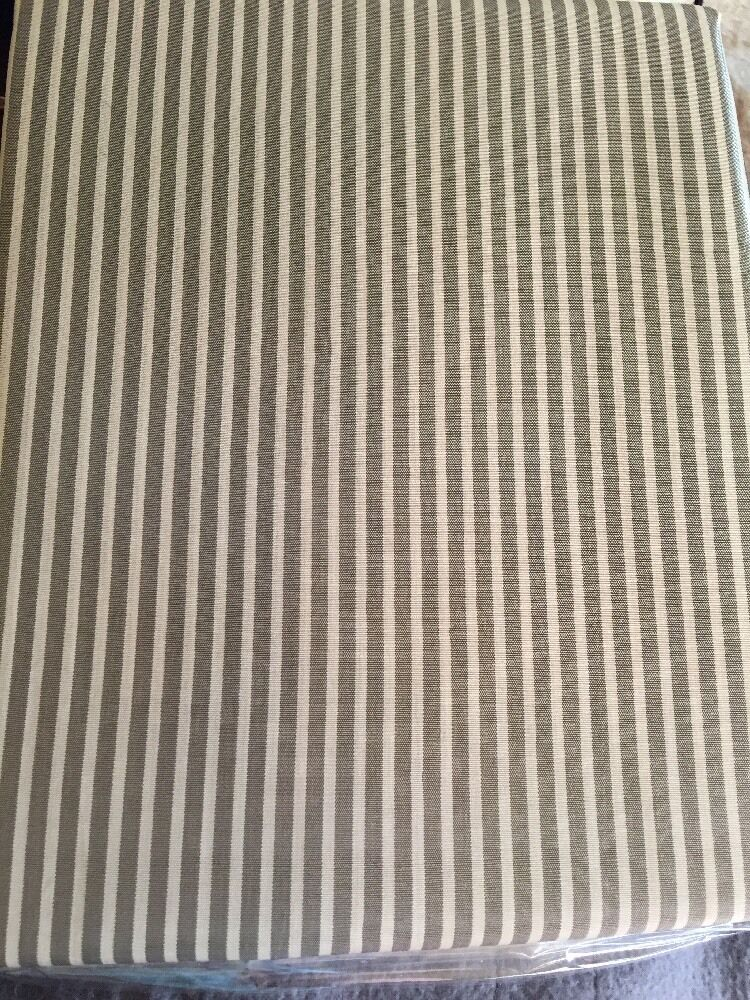 METALLIC TAUPE BROWN TAN STRIPE FABRIC SHOWER CURTAIN