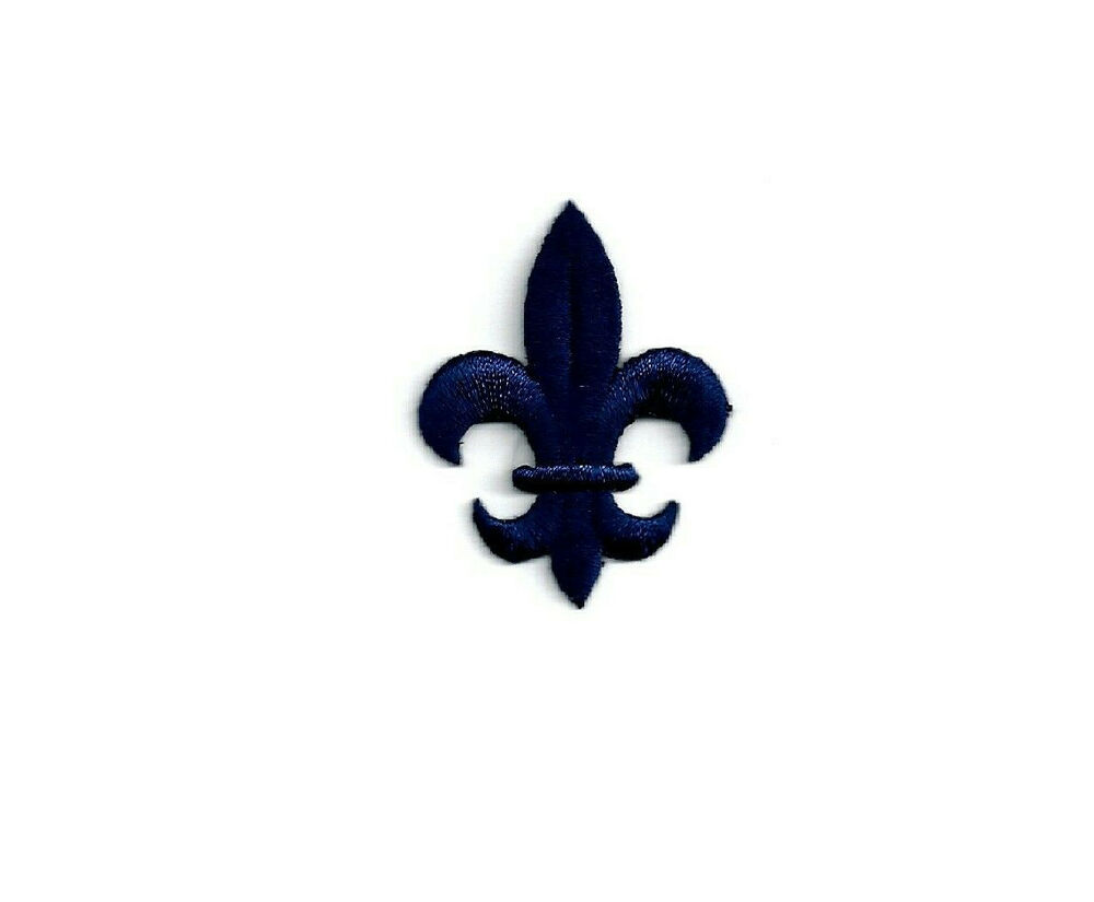 Fleur De Lis Navy Embroidered Iron On Patch Ebay