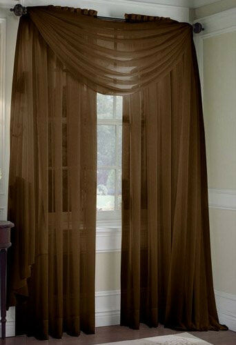 Set Of 2 Sheer Voile Curtains 84 Quot Long Brown Ebay