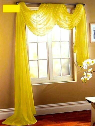 SHEER VOILE 216 LONG WINDOW SCARF BRIGHT YELLOW eBay
