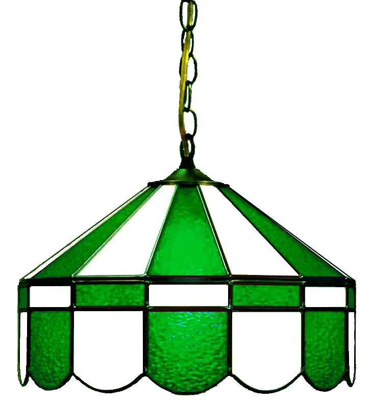 "GREEN & WHITE 16"" STAINED GLASS PUB LIGHT BAR LAMP HANGING"
