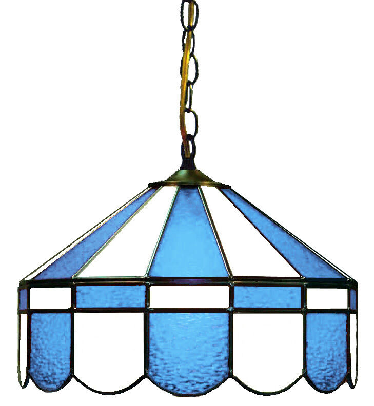 """LIGHT BLUE & WHITE 16"""" STAINED GLASS HANGING PUB LIGHT BAR"""