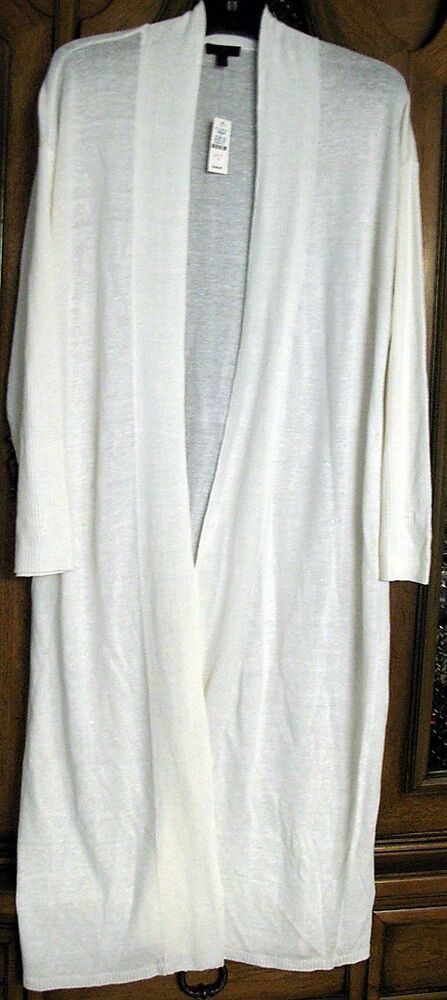 Talbots White Linen Silk Long Sweater Jacket L Xl Nwt Ebay