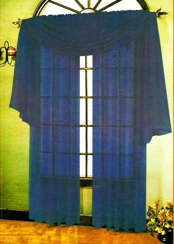 Sheer Voile 216 Quot Window Curtain Scarf Scarves Navy Blue Ebay