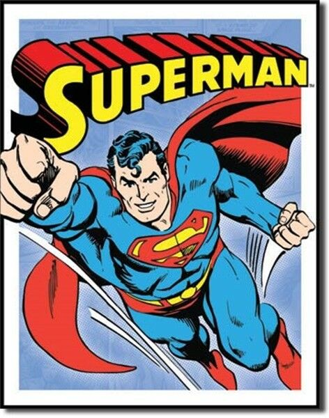 superman flying retro comic art panel tin sign new ebay