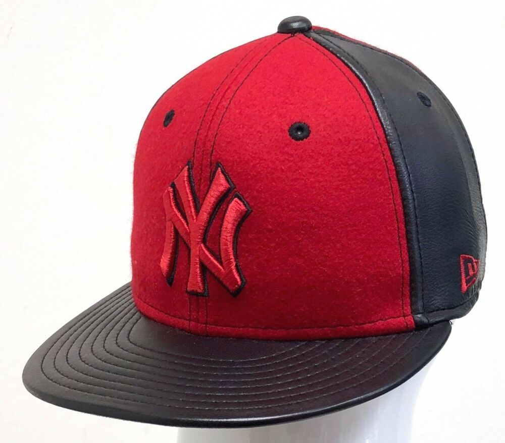Details about NEW ERA 59FIFTY LEATHER WOOL NEW YORK YANKEES RED BLACK 9775d907e33