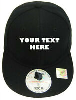 KID CHILD BLACK CUSTOM EMBROIDERED FLAT FITTED HAT CAP