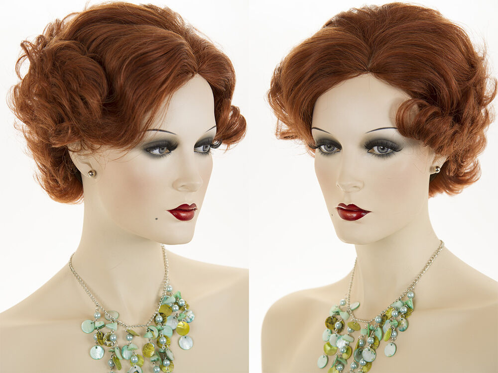 Short Human Hair Blonde Brunette Red Wavy Curly Wigs