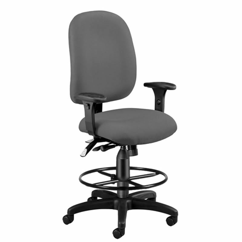ERGONOMIC EXECUTIVE GRAY FABRIC DRAFTING OFFICE CHAIR EBay