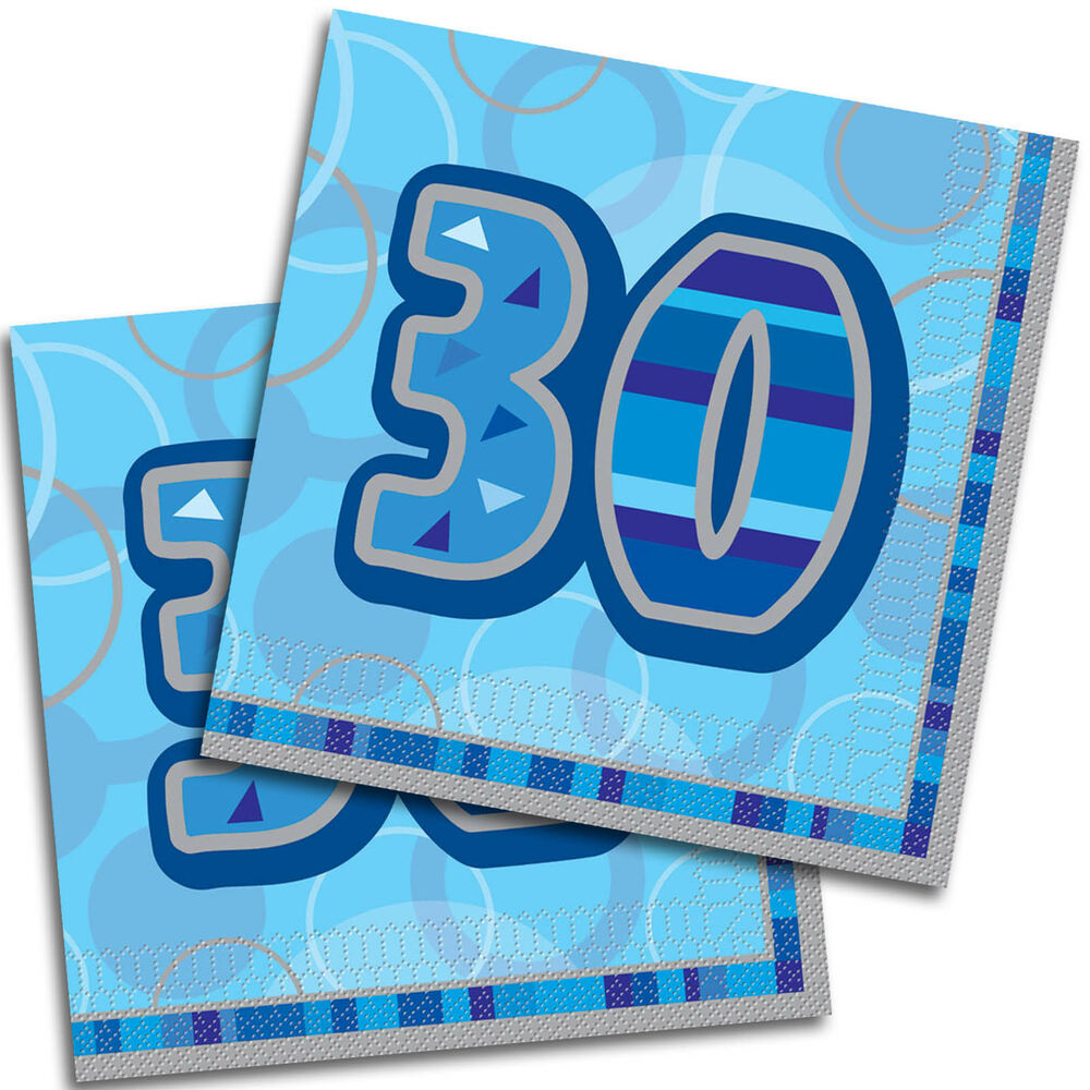 16 happy 30th birthday blue glitz 33cm party napkins ebay for 30th birthday party decoration packs