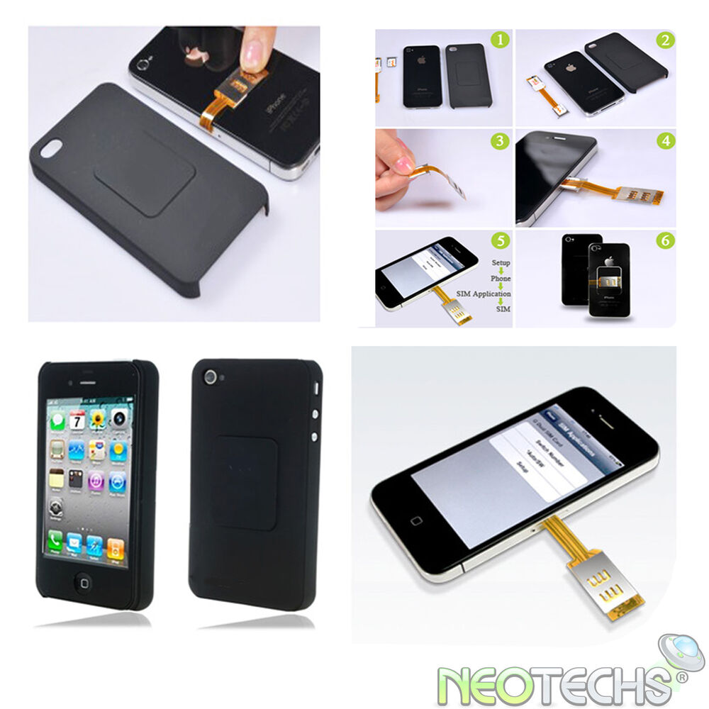 dual sim card adapter back case for apple iphone 4 4g ebay. Black Bedroom Furniture Sets. Home Design Ideas