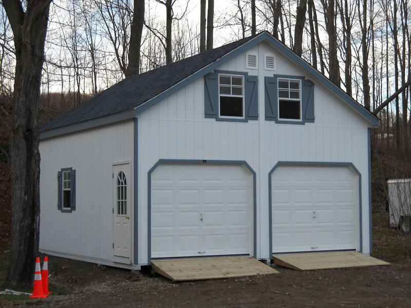 Amish 24x24 double wide 2 story garage shed structure ebay for Two story double wide
