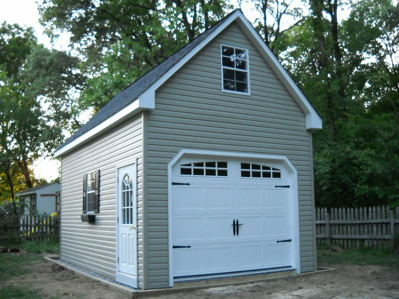 Amish 12x20 single car 2 story vinyl garage shed new ebay for Apartment garage storage