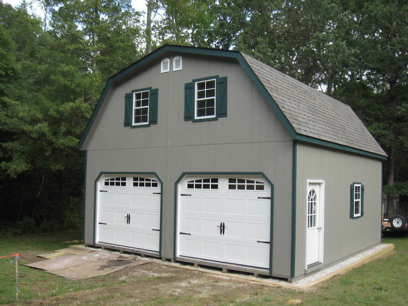 Amish 20x20 double wide garage gambrel roof structure ebay for Shed roof garage