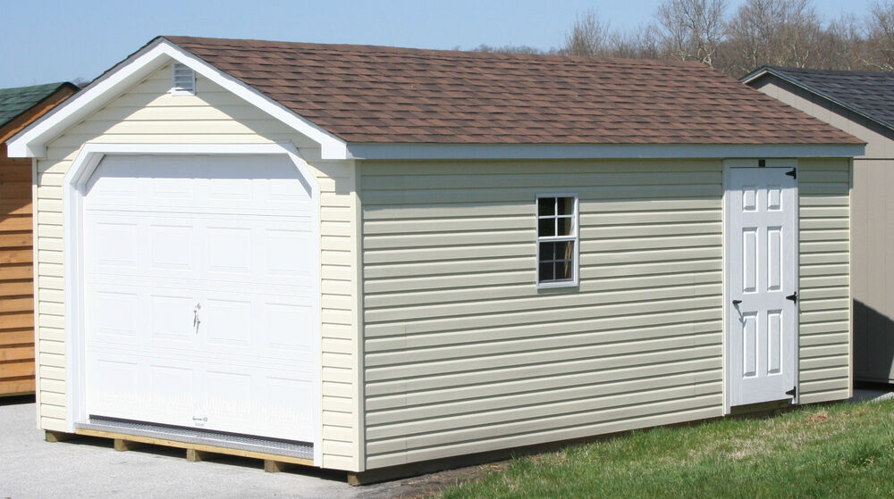 Amish built 12x20 a frame vinyl garage storage shed for Pre built storage sheds