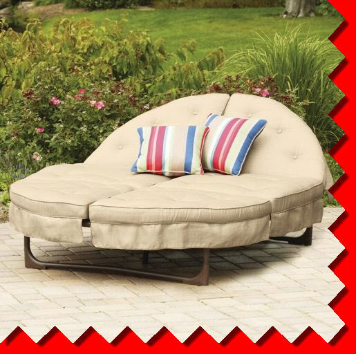 Outdoor Sectional Patio Chaise Lounge Double Recliner