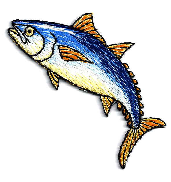 Tuna fish fishing sports embroidered iron on patch for Iron in fish