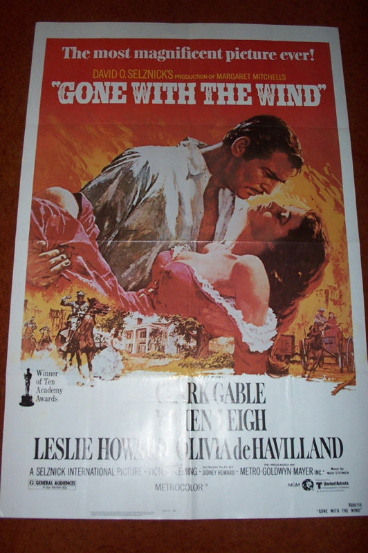 Gone With Wind R1980 27 X 41 Movie Poster Folded Ebay