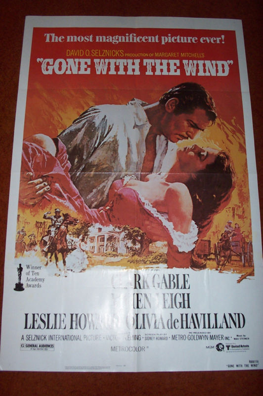 "GONE WITH WIND R1980 27 X 41"" MOVIE POSTER FOLDED 