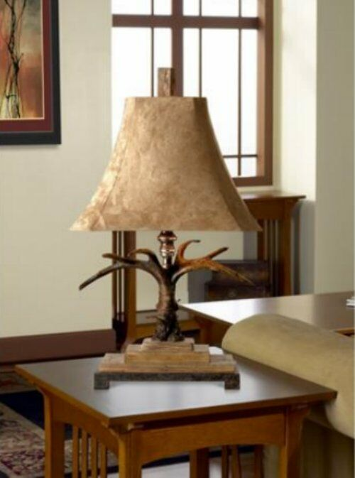 Luxury Rustic Antler Lodge Table Accent Lamp PAIR Set Eco ...