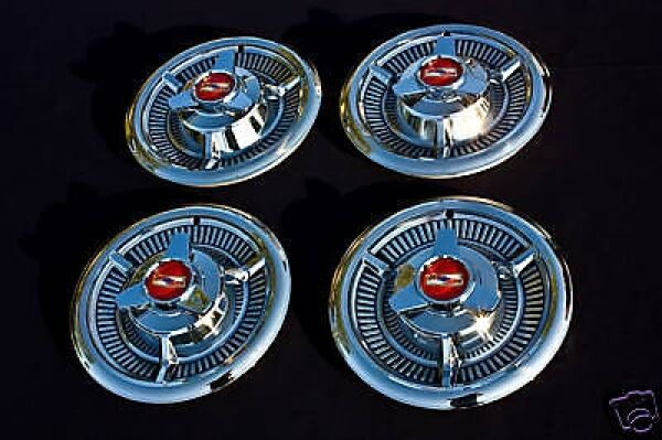 1958 58 Chevrolet Chevy Impala Hubcaps Without Grippers Ebay