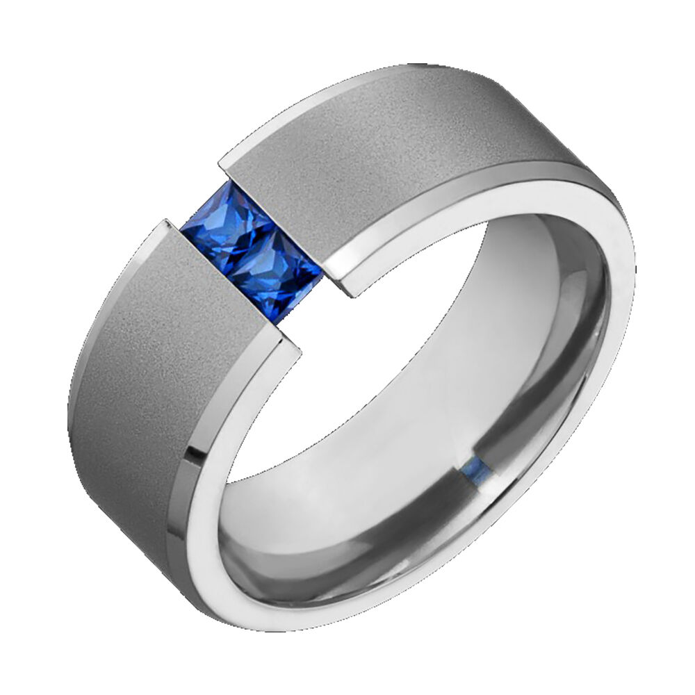 Mens Titanium Wedding Band Blue Sapphire Tension Set Comfort Fit