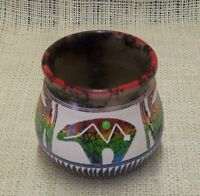 Native American Handmade Horsehair Pottery by Hilda Whitegoat Small Bear Vase