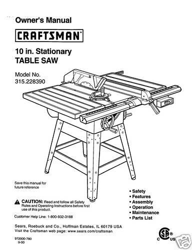 craftsman table saw model 113.221611 manual