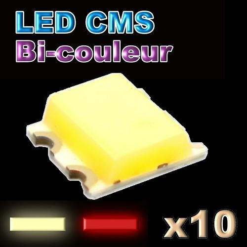 198/10#10pcs LED CMS bi-couleur rouge blanc chaud - SMD LED 0605 red- warm white
