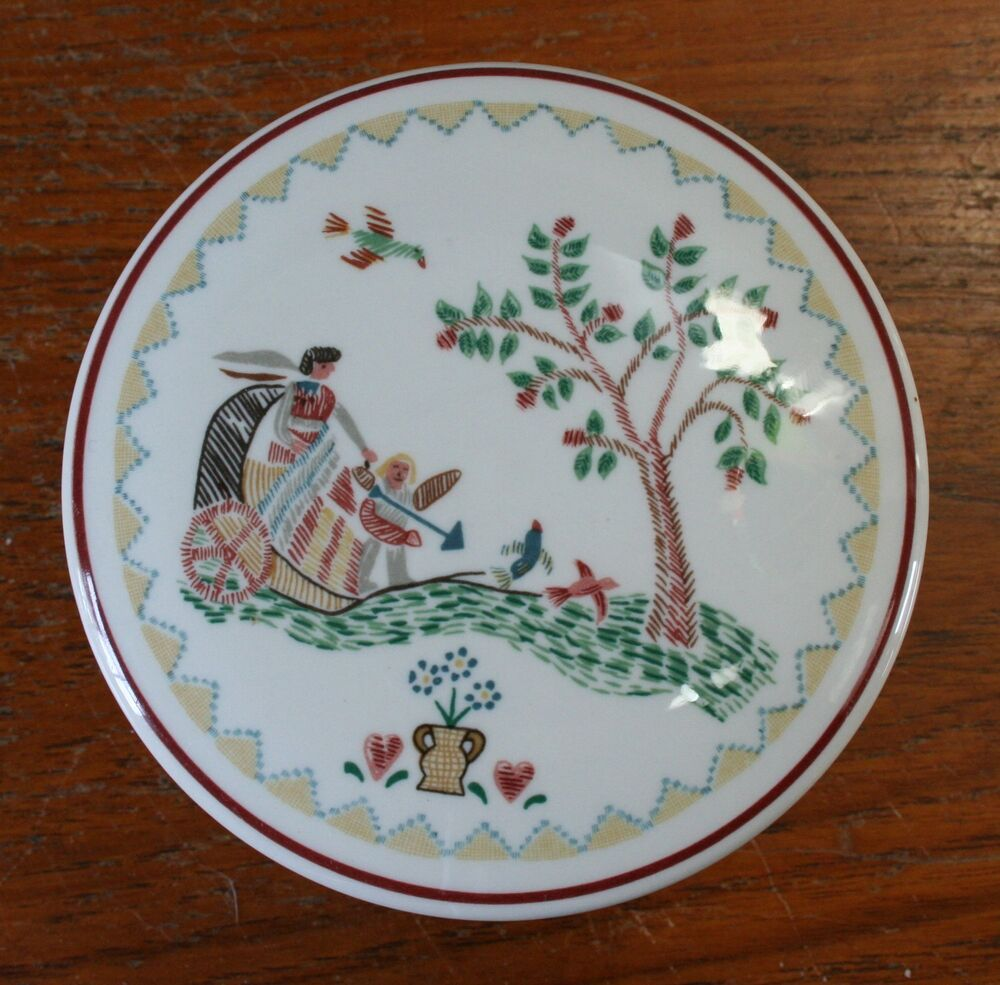 Villeroy boch american sampler 1981 covered round box ebay - Boch and villeroy ...