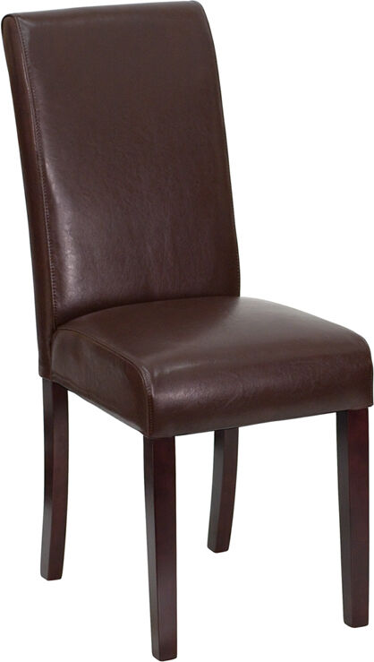 4 Brown Leather Parsons Dining Restaurant Chairs   eBay
