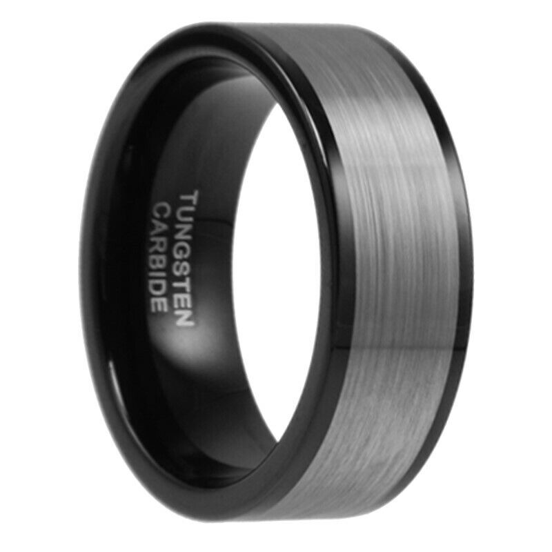 9mm Wide Silver Black Brushed Tungsten Carbide Wedding Band Men Ring Size 7 15 Ebay