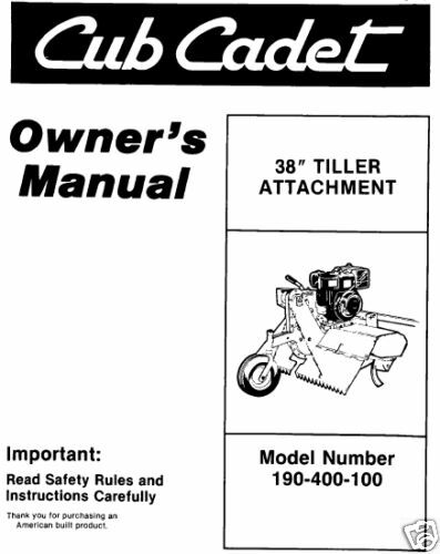 cub cadet 38 u0026quot  tiller attachment manual  190