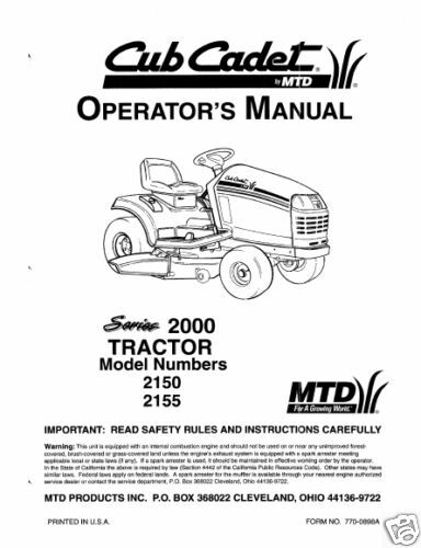 Cub Cadet Owners Manual Model No  2150