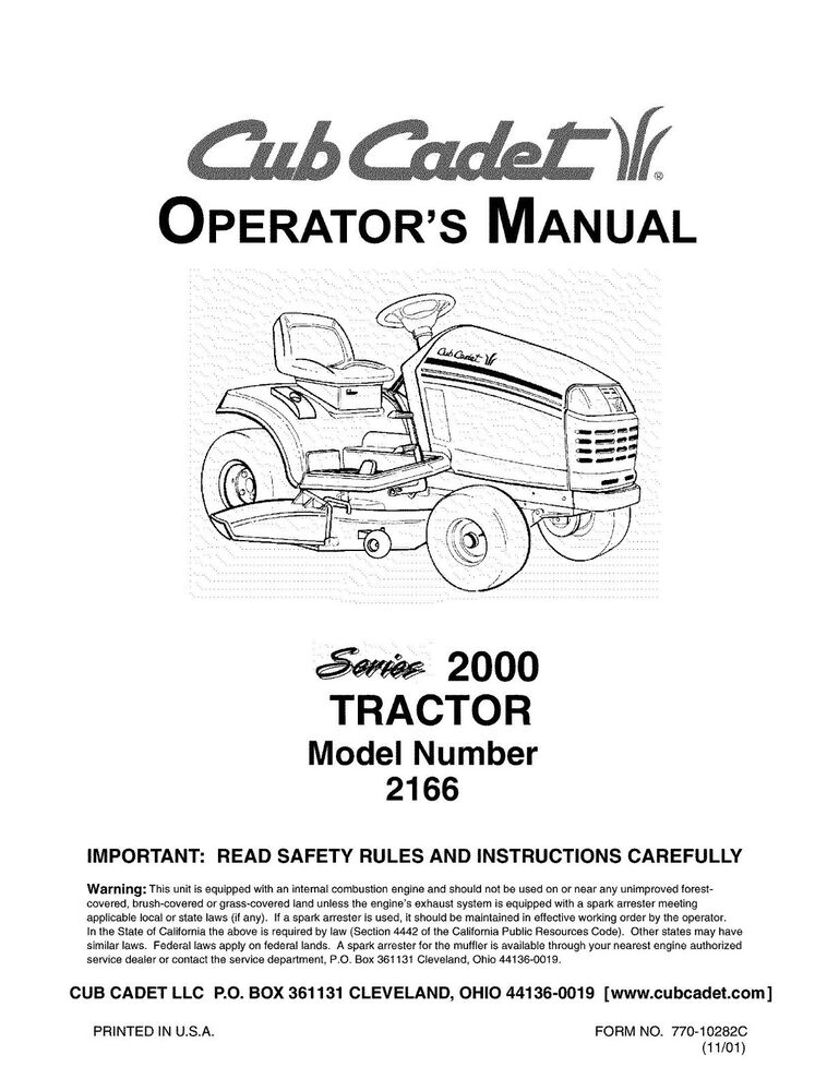 Cub Cadet rbh1200 manual