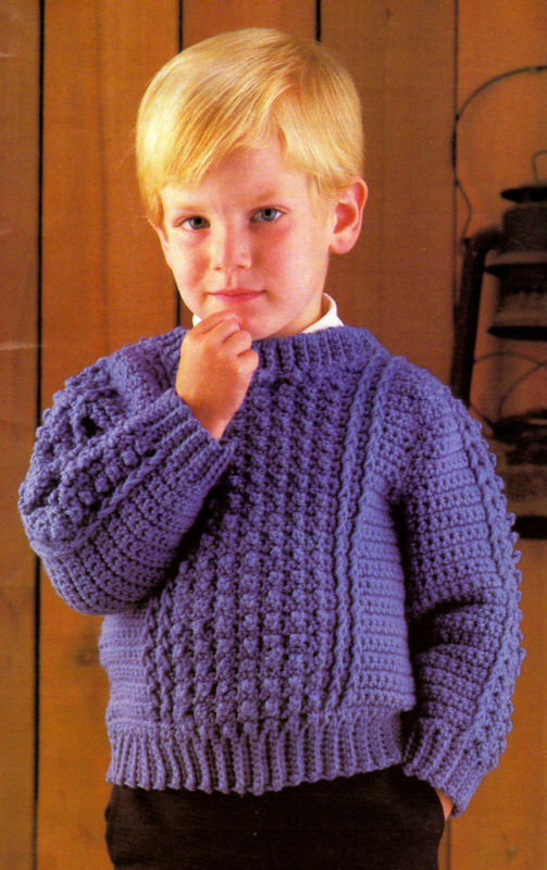 Handsome Boy S Sweater Crochet Pattern Instructions Only