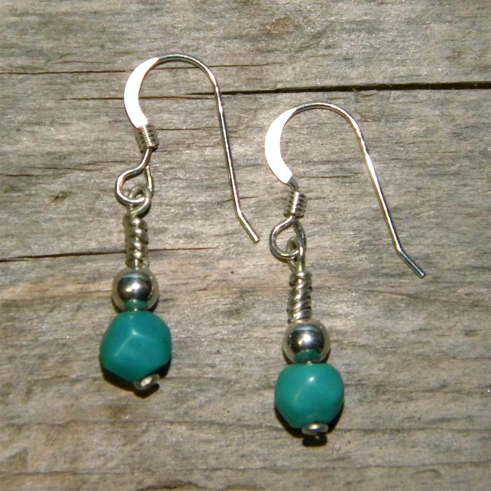 turquoise handcrafted artisan dangle earrings solid. Black Bedroom Furniture Sets. Home Design Ideas