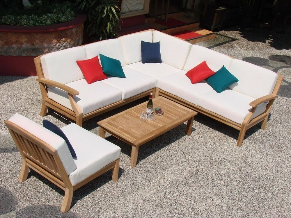 5 Pc Teakwood Teak Wood Indoor Outdoor Patio Sectional
