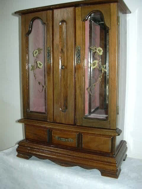 Decorative Cabinet For Jewelry Painted Glass Doors Ebay
