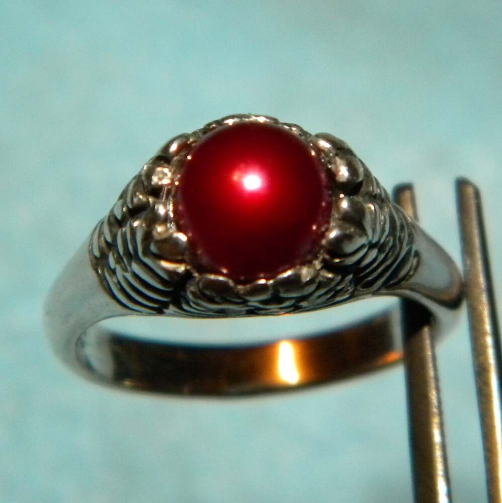 Sterling Silver Gorgeous Red Pearl Ring Made In The Usa